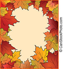 Autumn card with maple - Autumn cute card with maple Vector
