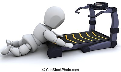 Treadmill - 3D render of a man on a  treadmill