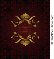 Illustration vintage background with crown - vector