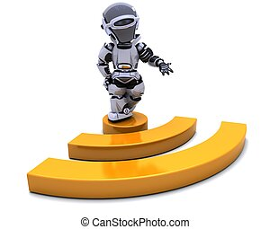Robot with RSS symbol - 3D render of a Robot with RSS symbol
