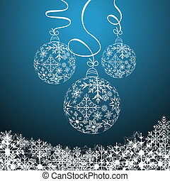 Illustration cute christmas composition with balls - vector