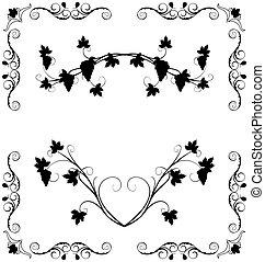 Illustration the grape twig ornate for design labels -...
