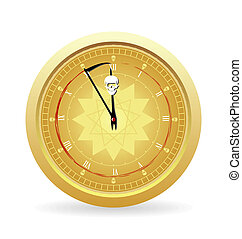 Illustration the clock of the death isolated on a white...