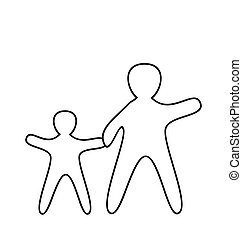 Silhouette of parent and children. Vector