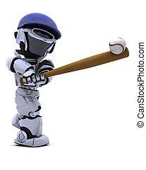 Robot playing baseball