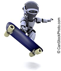 Robot with skateboard