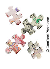 Currency war - Mismatched jigsaw puzzles superimposed with...