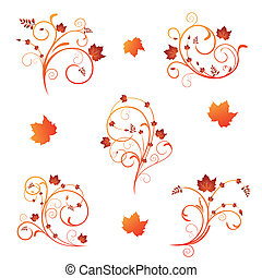Autumn floral design - Set autumn floral design elements...