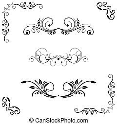 Set of floral frame and border. Vector