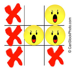 tic tac toe game with angry smiley face losing