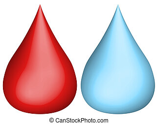 3d water drip and blood drip