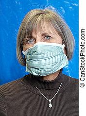senior woman wearing medical mask