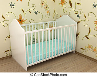 Childrens bed - Illustration of a bed for the child in a...