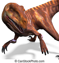 Dinosaur Deinonychus 3D rendering with clipping path and...