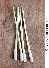 Lemon grass isolated on a wooden bg