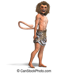 male manticore fantasy creature 3D rendering with clipping...