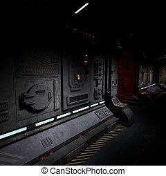 fond, image, sombre, couloir, bord, vaisseau spatial