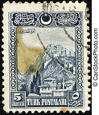 Fortress of Ankara, 1929 - TURKEY - CIRCA 1929: A Stamp...