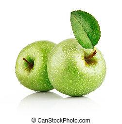 緑, 葉, アップル, 成果
