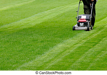 Gardening  - Person cutting grass with mower