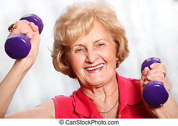 Senior lady working out - A picture of a senior lady working...