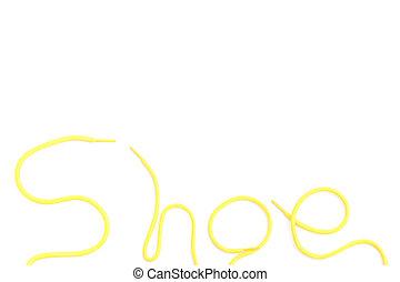 Shoe laces isolated on white bg