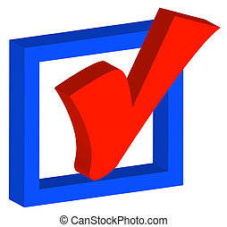 blue box with red check mark or tick - 3d blue box with red...