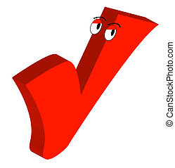 red checkmark with google eyes - cartoon drawing of red...