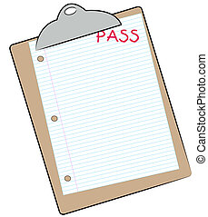 clipboard with lined paper marked pass