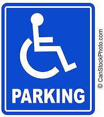 wheelchair parking space sign - blue handicap parking or...