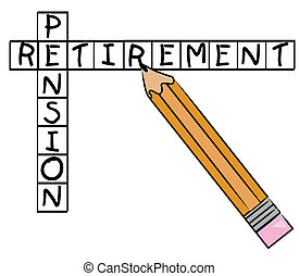 pencil filling in crossword with the words - pension and...