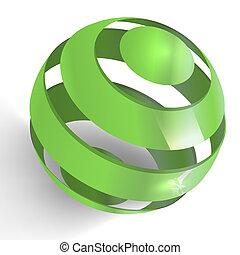 Green 3D Globe - 3d illustration of spiral globe
