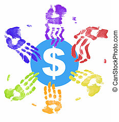many different colored hands all trying to get a piece of the money
