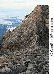Climbers on Kinabalu Summit - Climbers make their way down...
