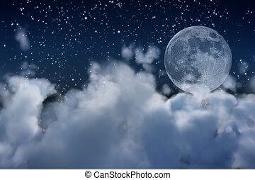 full moon and clouds - a view over the clouds in a dreamy...
