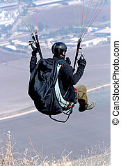 Taking-off Paraglider from the Gilboa mountains, Israel