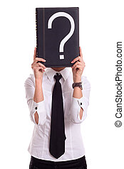 businesswoman with question book isolated
