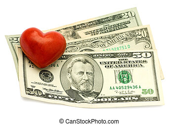 Red Heart on dollar