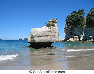 Beautiful beach at Cathedral Cove on the Coromandel Peninsula on the North Island of New Zealand