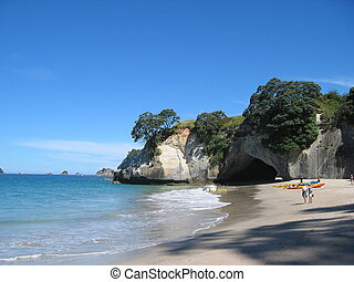 The beautiful beach at Cathedral Cove on the Coromandel Peninsula, New Zealand