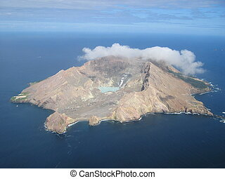 Aerial view of the active volcano on White Island, a small...