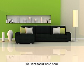 Interior of the modern room, green wall and black sofa