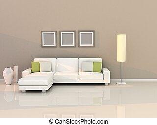 vida, habitación, moderno, estilo