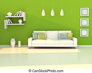 Interior of the modern room, green wall and white sofa