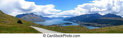 Panorama of Queenstown and Lake Wakatipu, New Zealand