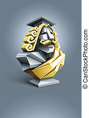 antique sculpture bust of wise professor. vector...