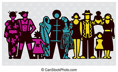 Multicultural Society - Vector illustration symbolizing a...