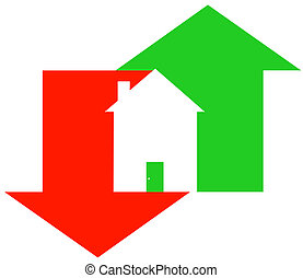 fluctuating housing market - up and down arrow with house -...