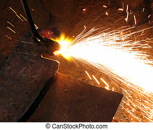 metall cutting with acetylene welding - metall detail...