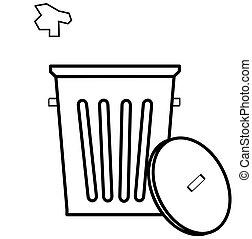 déchets, boîte, literie, être,...
